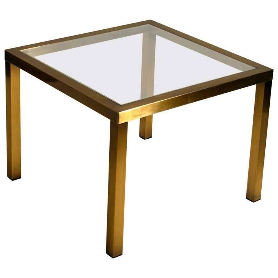 Minimal Square Brass Coffee Table with Clear Glass Top