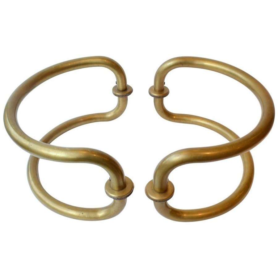 Large Pair of Curved Brass Push & Pull Door Handles