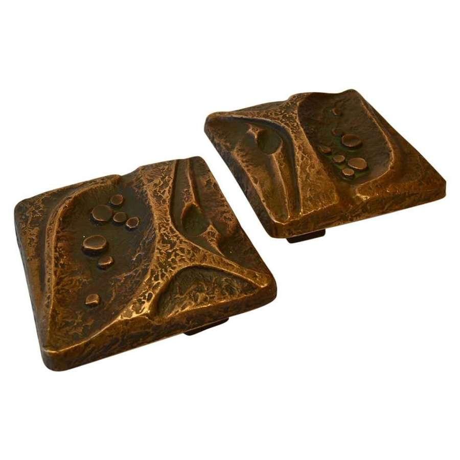 Bronze Square Pair of Door Handles with Nature motif
