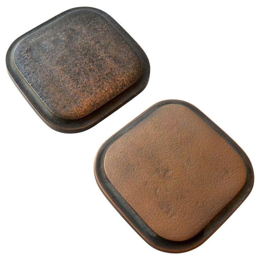 Bronze Pair of minimal Square Rounded Door Handles