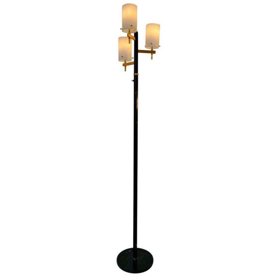 Floor Lamp with Three Glass Shades Stilnovo 1950's Italy