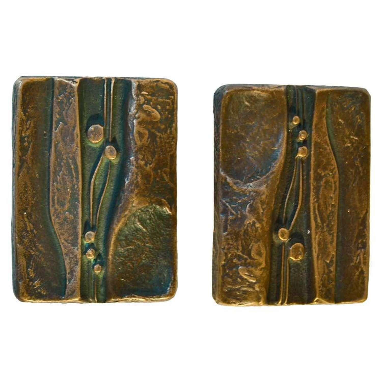 Bronze Pair of Door Handles with Nature decoration