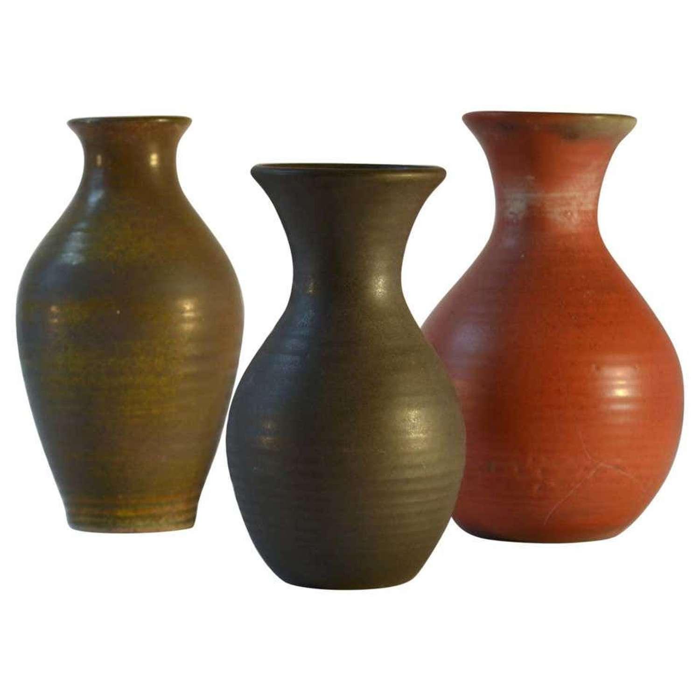 Group of Three Mid Century Ceramic Dutch Studio Vases