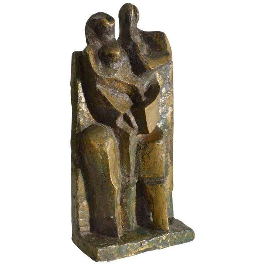 Cubist Bronze Sculpture of Man and Women, Dutch 1960's