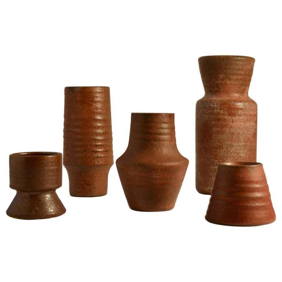 Group of Mid Century Ceramic Studio Vases Dark Red