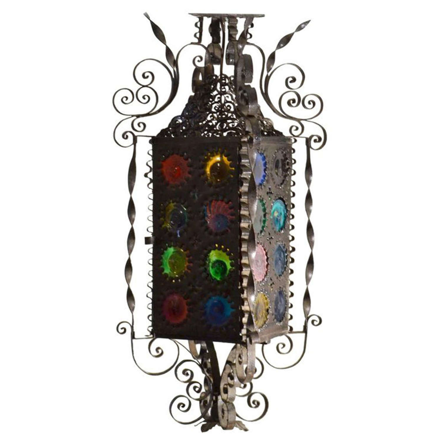 Hand forged Venetian Lantern with Colored Glass, 1910