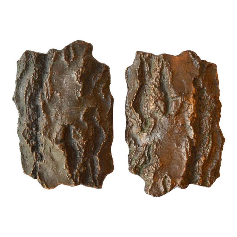 Pair of Bronze Door Handles with tree bark motif