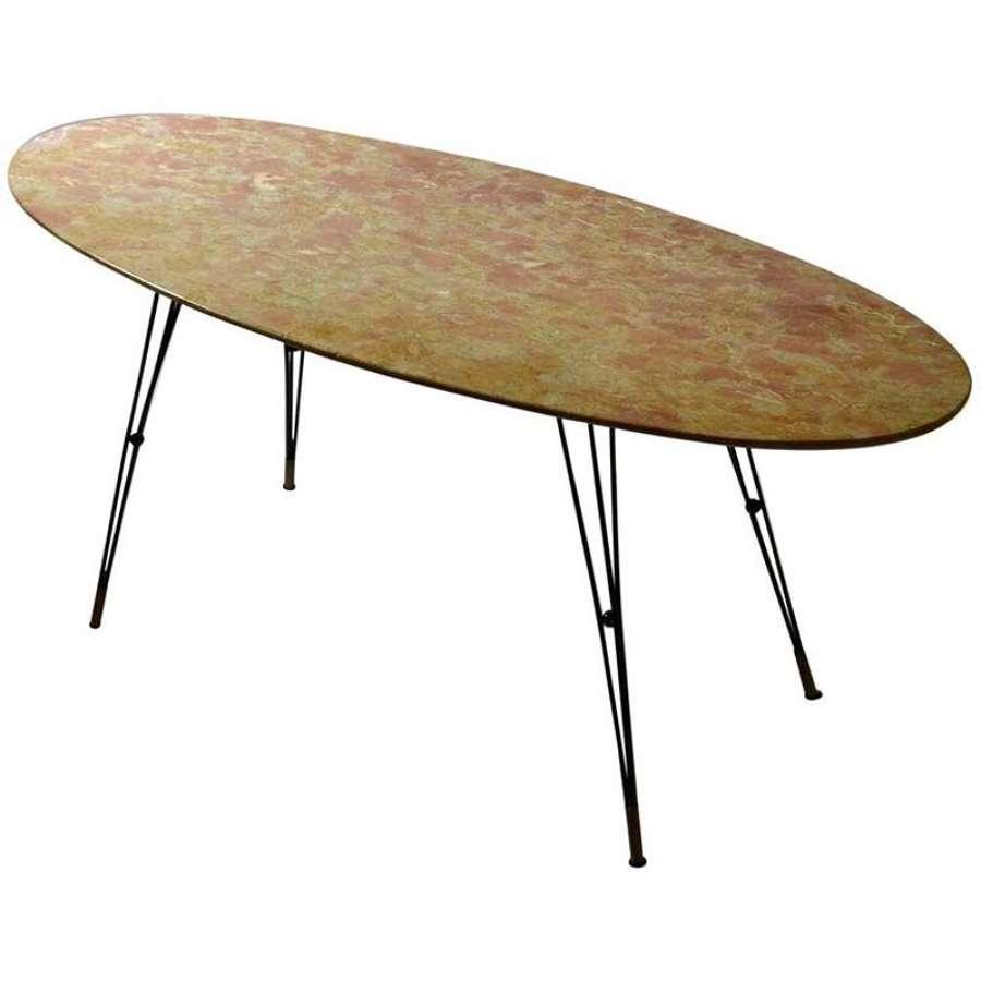 Oval Marble Cocktail Table on Black Spider Legs Italian 1950's