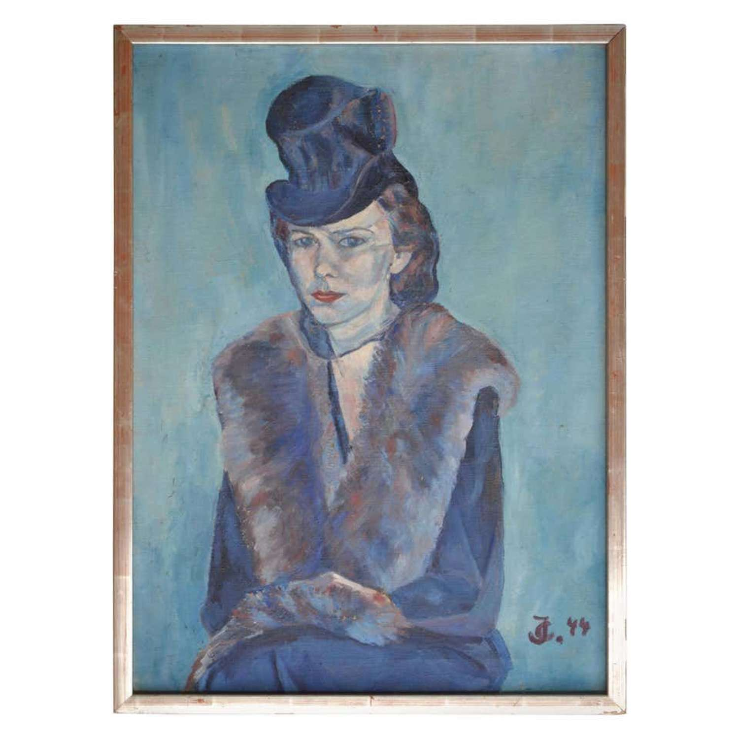 Portrait of Woman in a Blue Hat and Veil Painting 1944