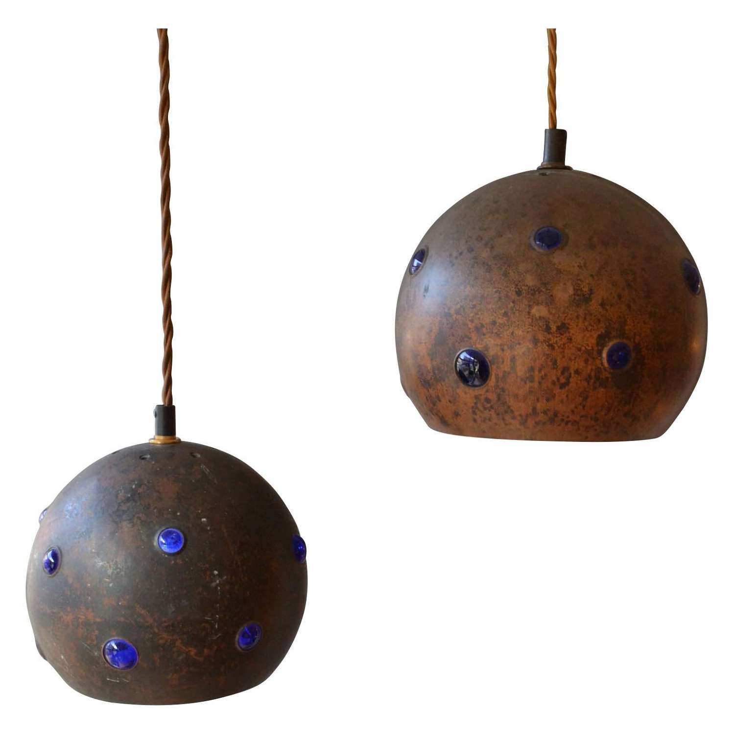 Pair of Copper and Blue Glass Pendant Lamps by Nanny Still