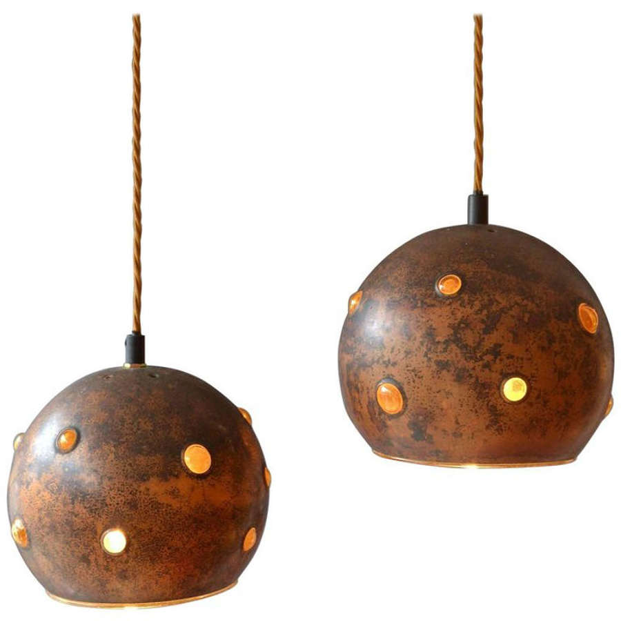 Pair of Copper and Amber Glass Pendants by N. Still