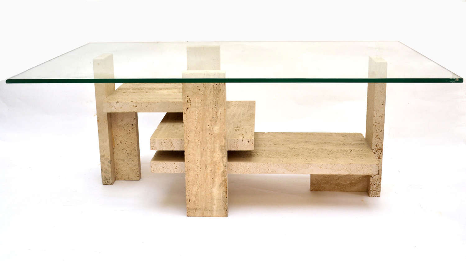 Coffee Table Travertine and Glass by Willy Ballez, 1970s