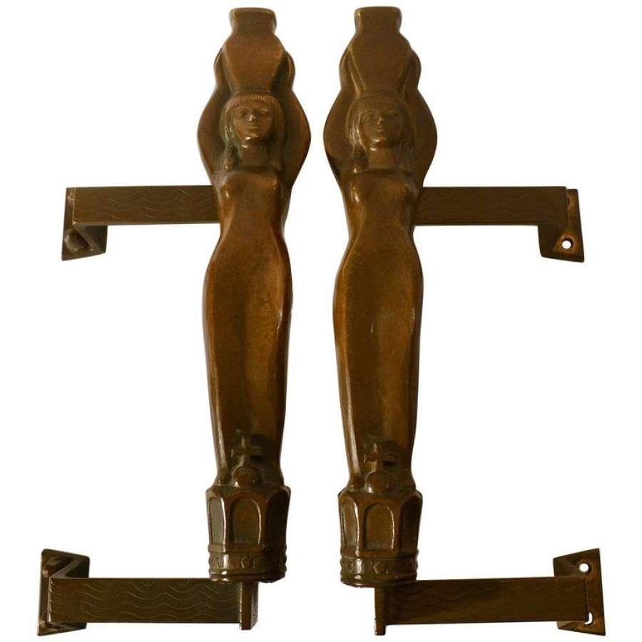 Bronze Pair of  Door Handles Art Nouveau Water carriers