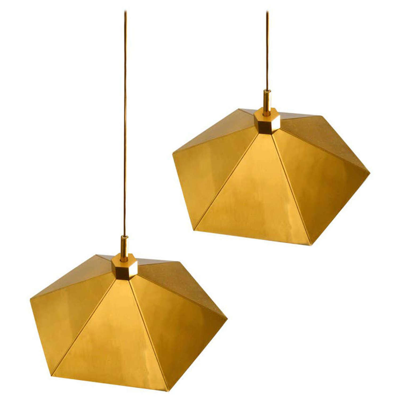 Pair of Brass Pendant Lamps in Umbrella Shape, Belgium