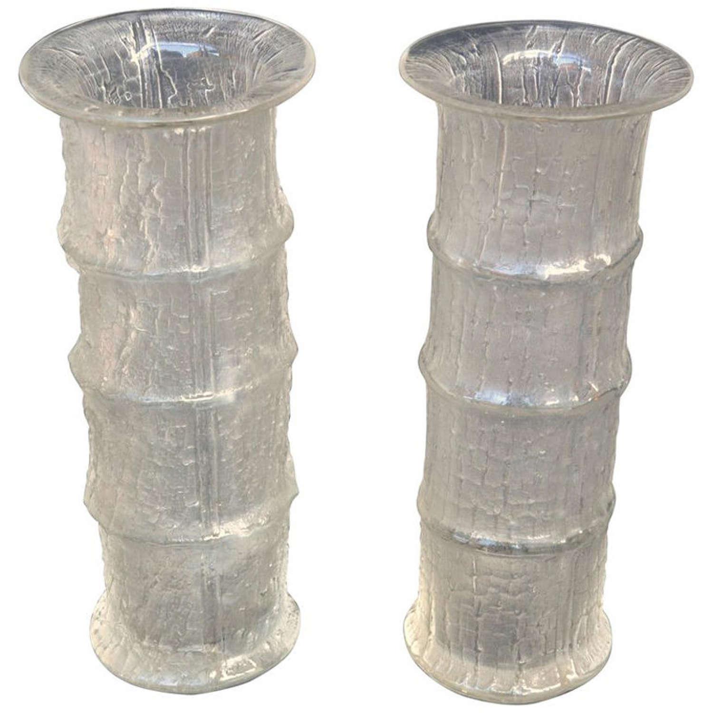 Pair of Bamboo Shape Crystal Vases by Timo Sarpaneva