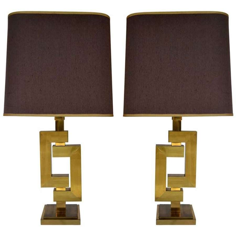 Pair of Geometric Brass Table Lamps by Philippe Jean