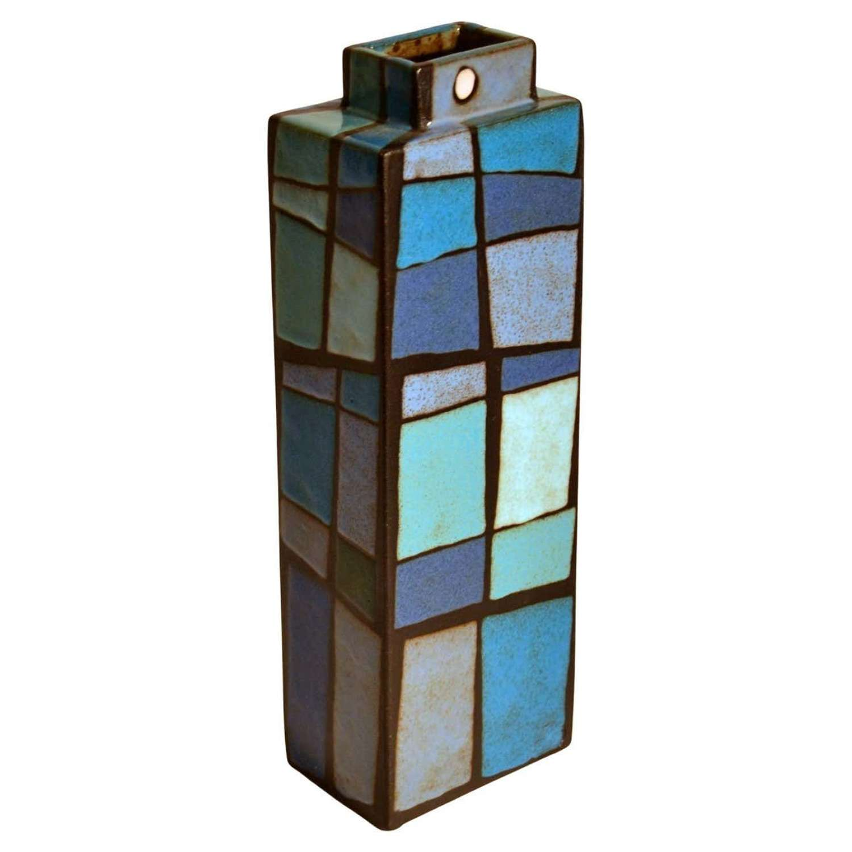 Studio Pottery Vase Rectangular Decorated in Blues