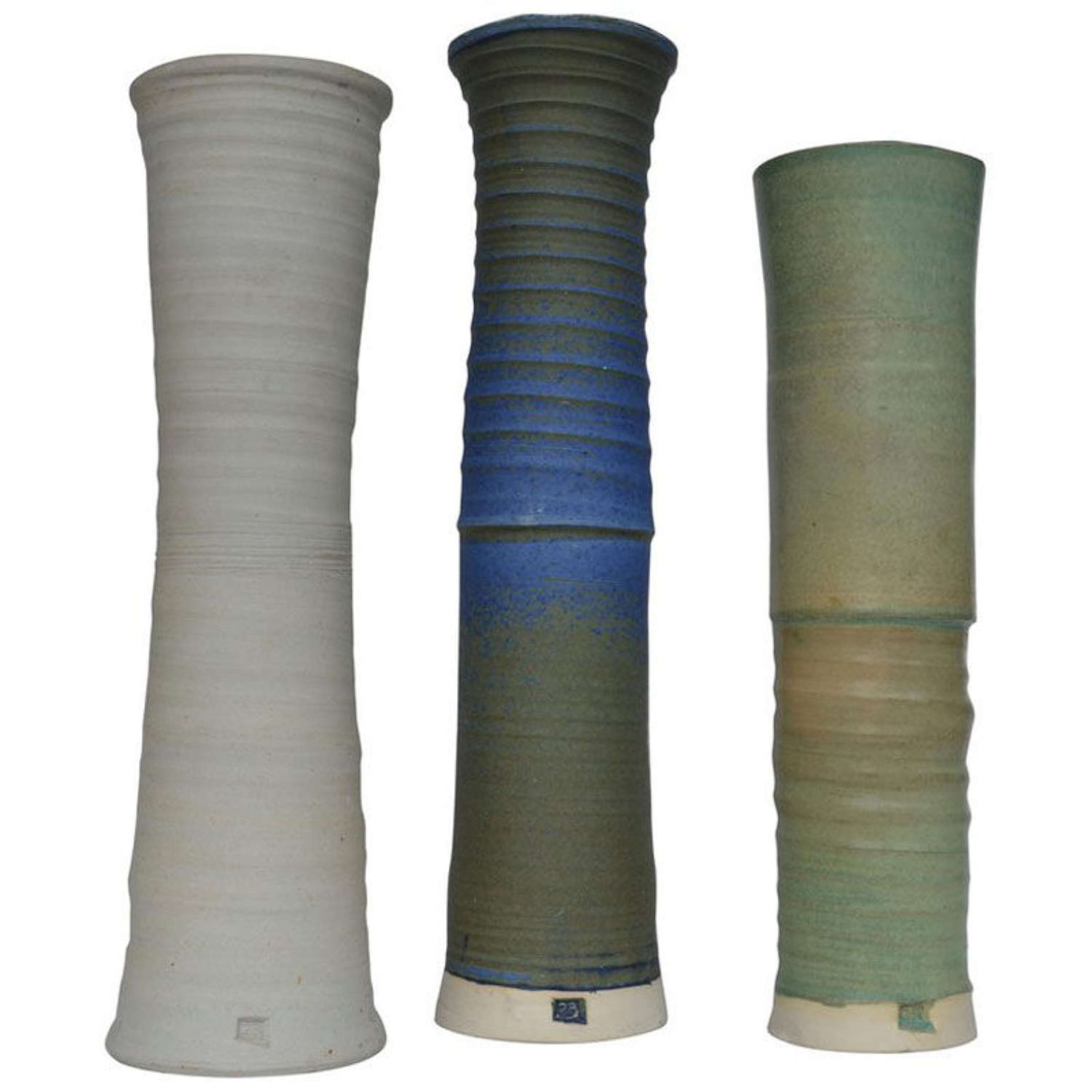Three Large Studio Pottery Vessels in Blue, Green & Sand