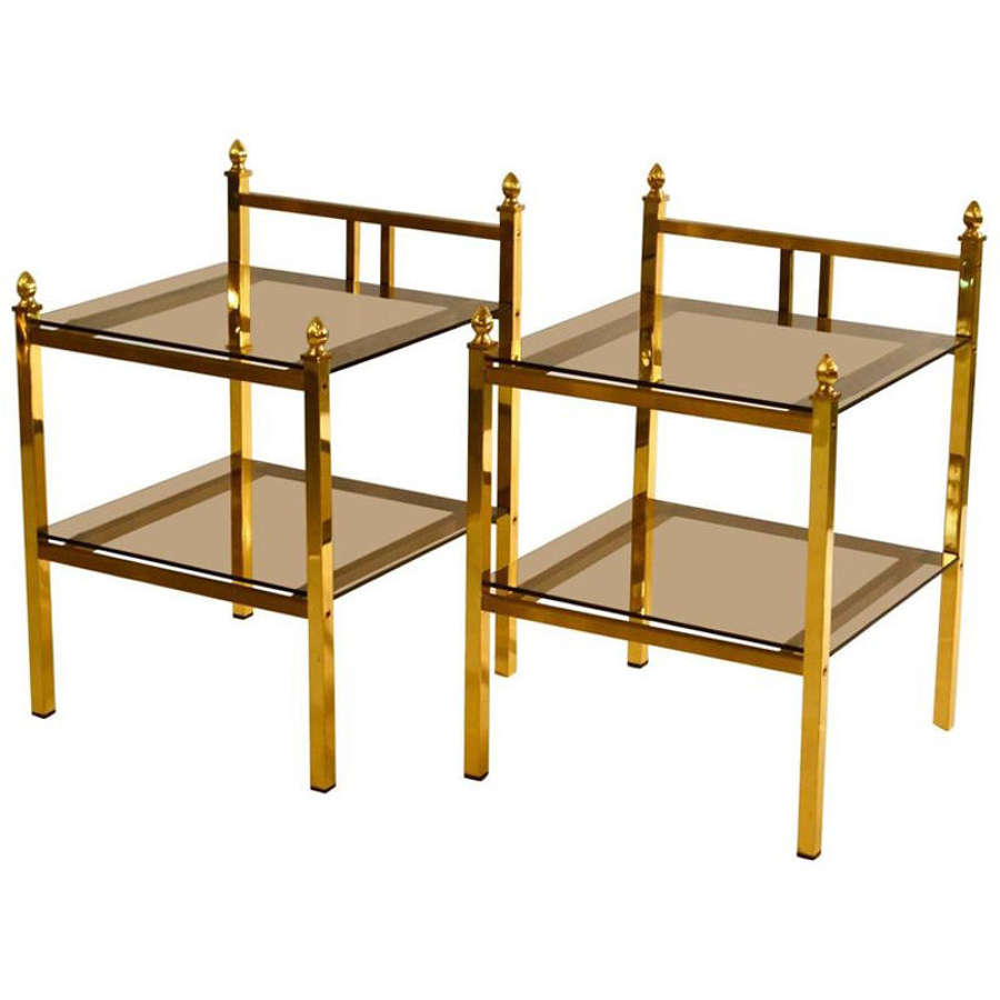 Pair of Brass & Glass Side Tables in Maison Charles Style