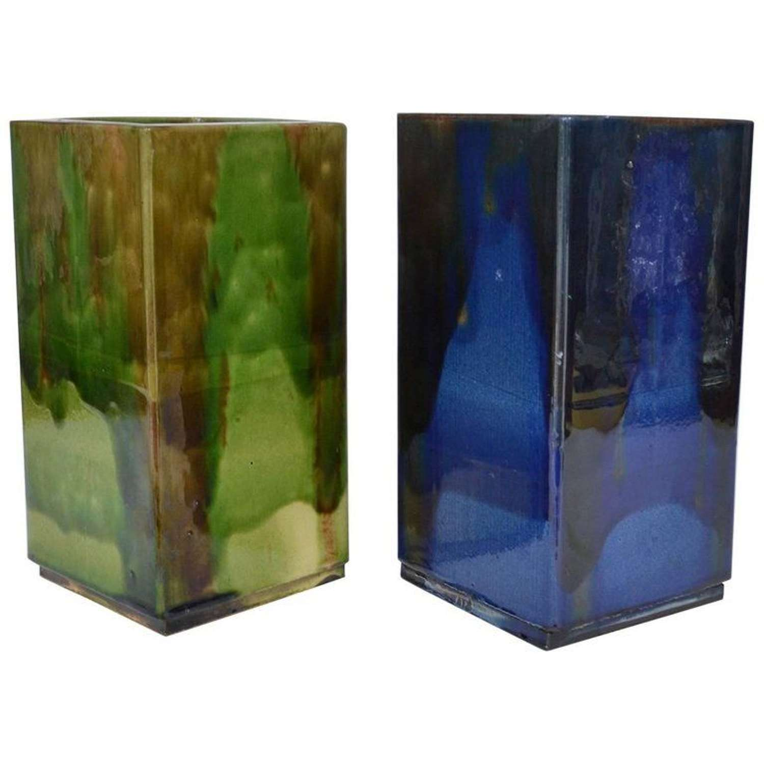Pair of French Square Studio Pottery Vases in Blue & Sage