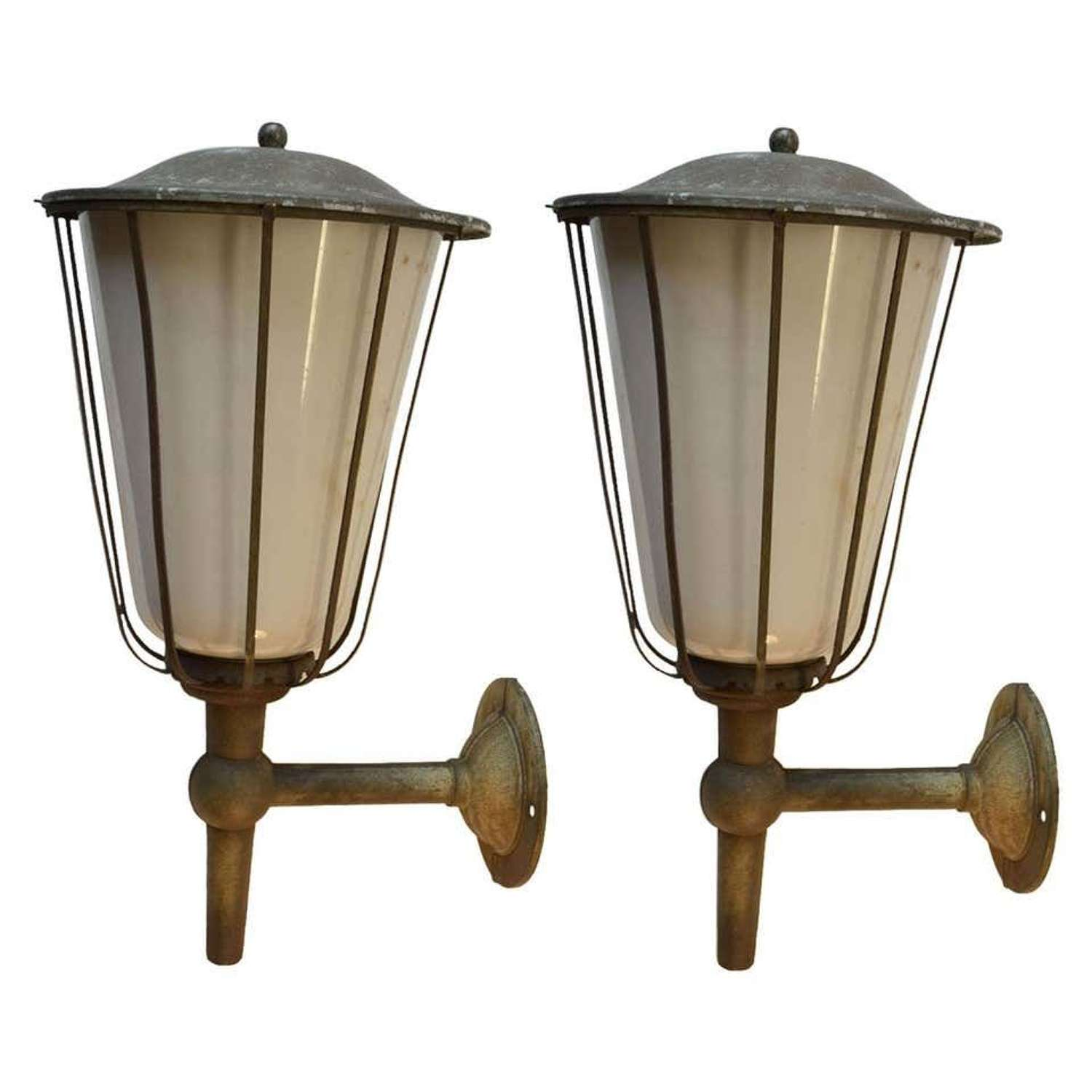 Pair of Large Outdoor Lanterns, Early 20th Century