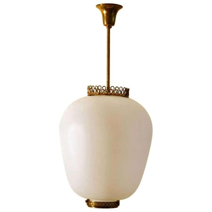 Stilnovo Pendant Lamp with Opaline Glass & Brass, Italy
