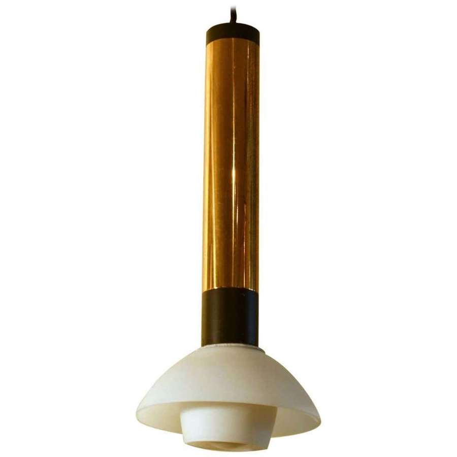 Stilnovo 1950s Italian Pendant Lamp with Opaline Glass