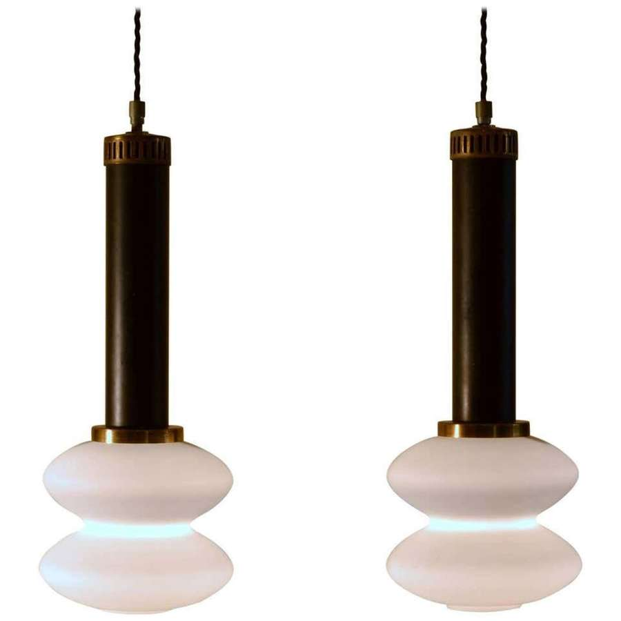 Pair of 1950s Stilnovo Pendant Lamps Frosted Glass