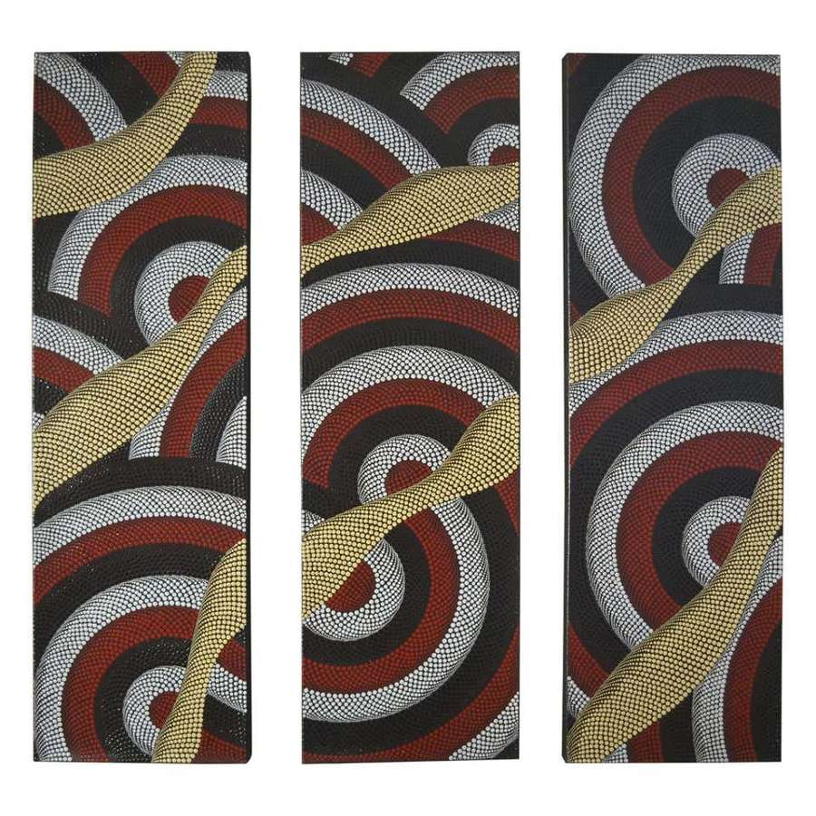 Triptych of Contemporary Aboriginal Dot Paintings