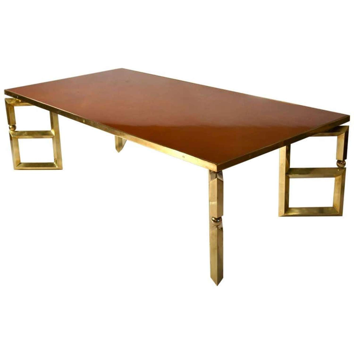 Brass and Burnt Orange Coffee Table by Maison Jansen
