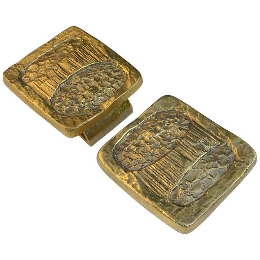 Pair of Bright Bronze Push and Pull Double door Handles