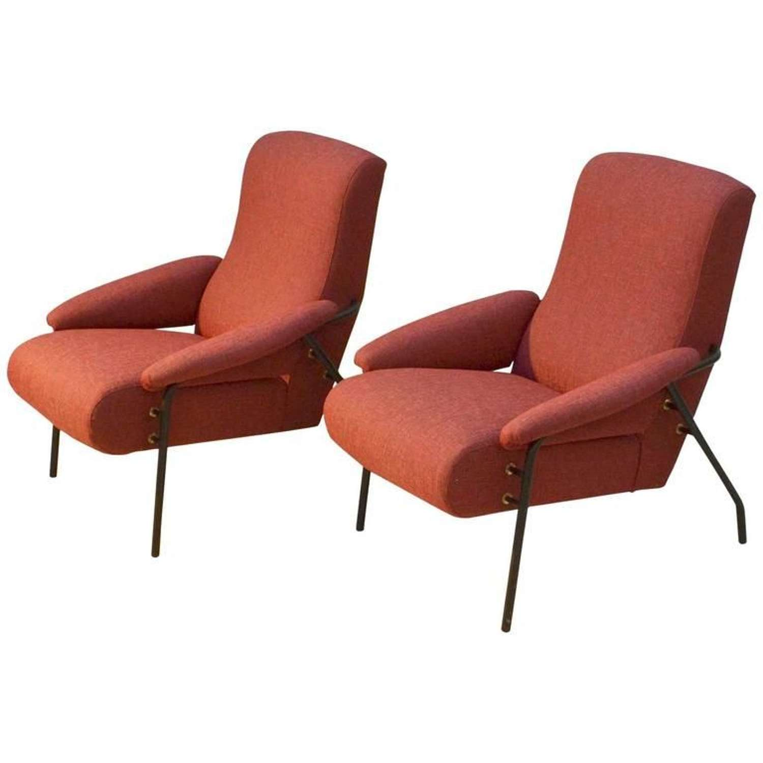 Pair Modernist Lounge Chairs in Burnt Orange Italy 1960's