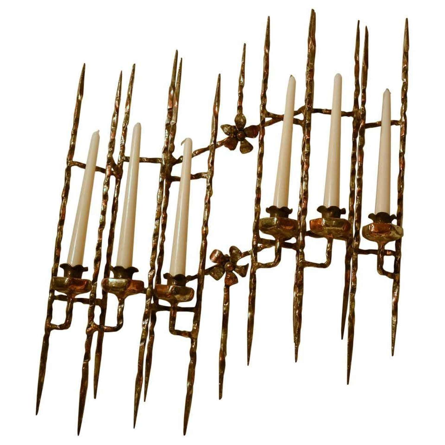 Hand Forged Brutalist bronze Wall Mounted Candelabra