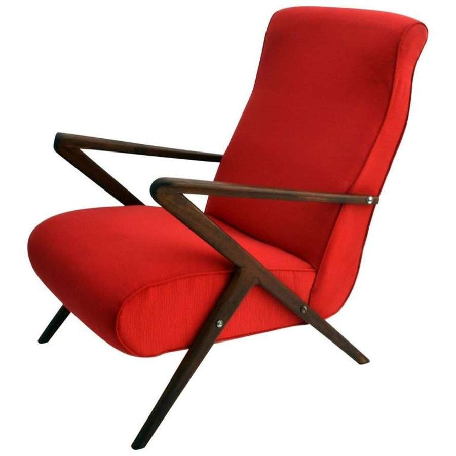 Red Italian Mahogany 1950s Lounge Chair