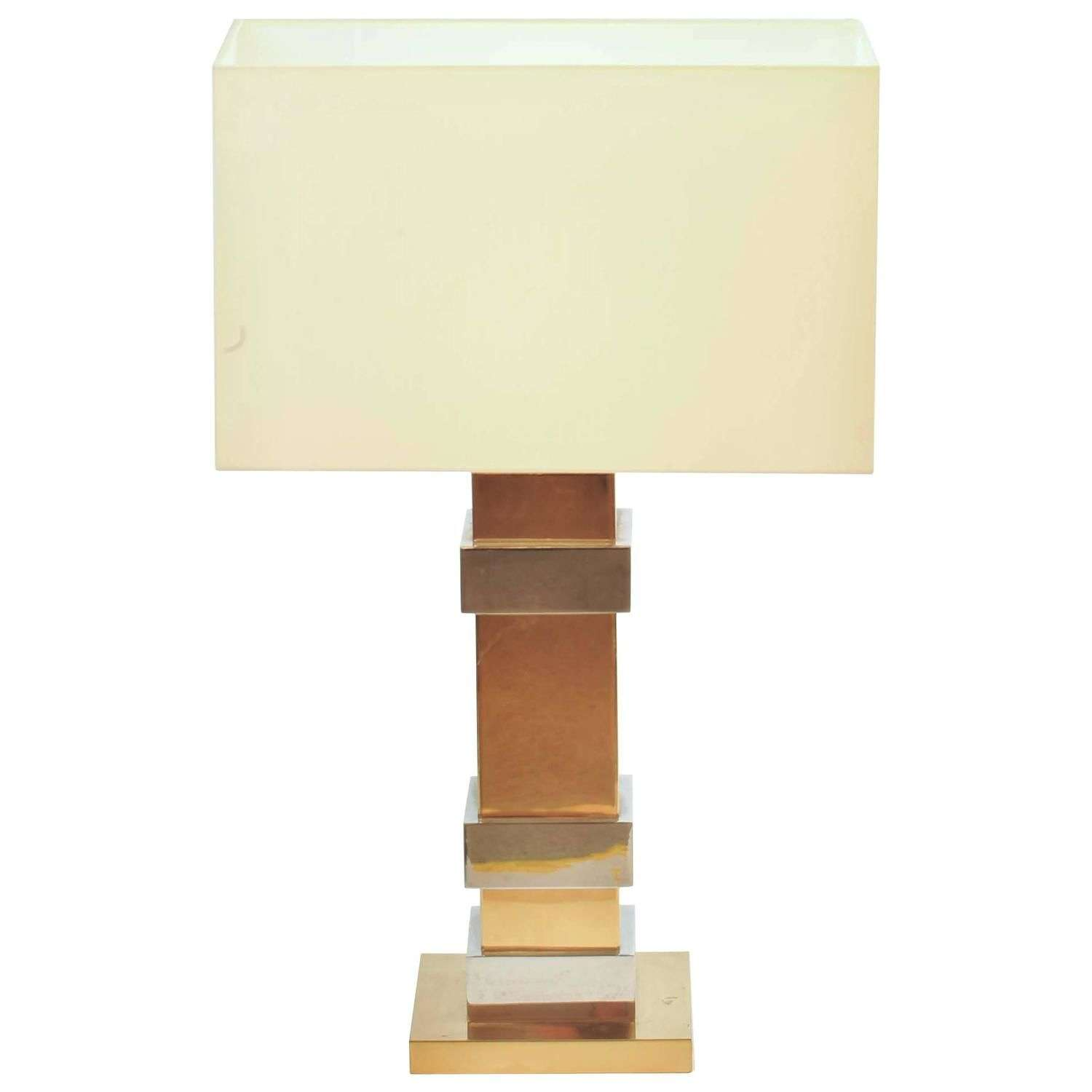 Geometric Brass and Chrome Table Lamp by Maison Charles