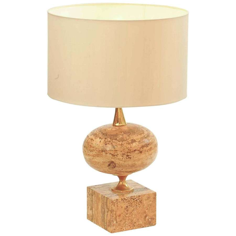 1970s Travertine Table Lamp by Maison Barbier