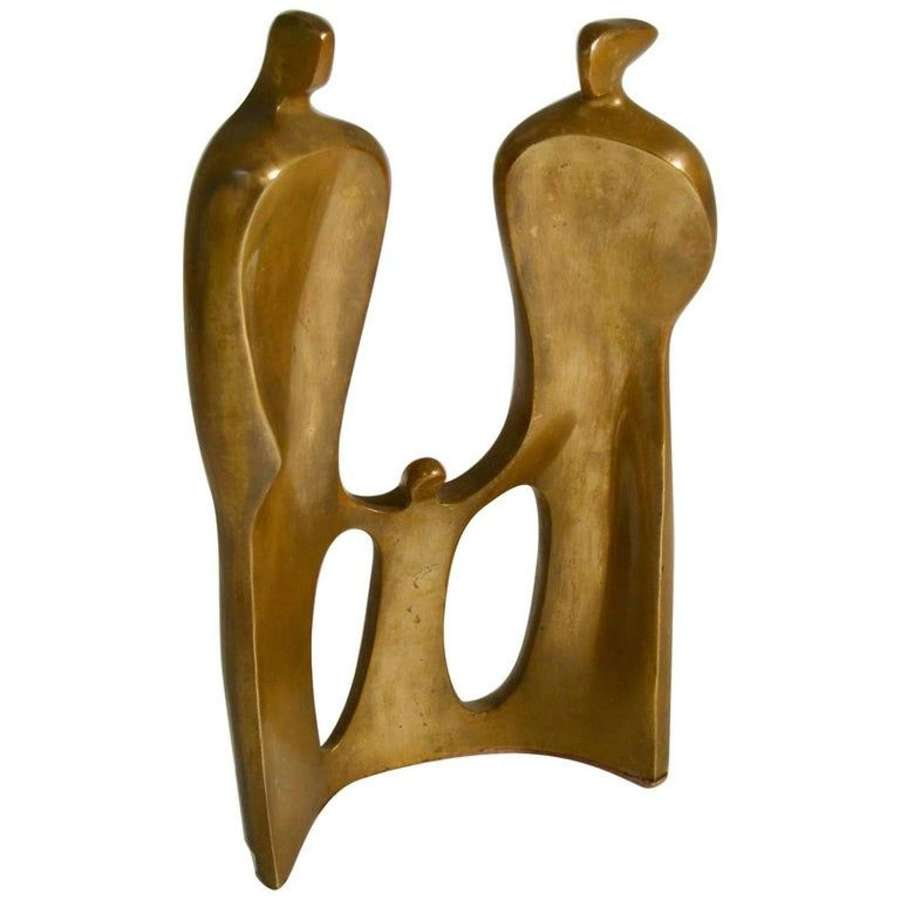 Figurative Bronze Sculpture of Family by Maria Guernova