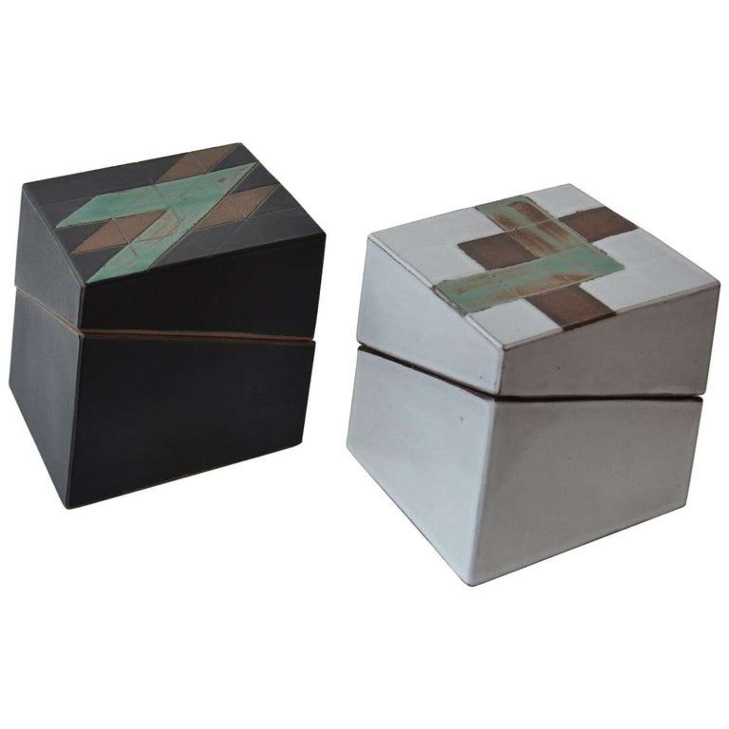 Pair of Square Studio Pottery Boxes in Black and White