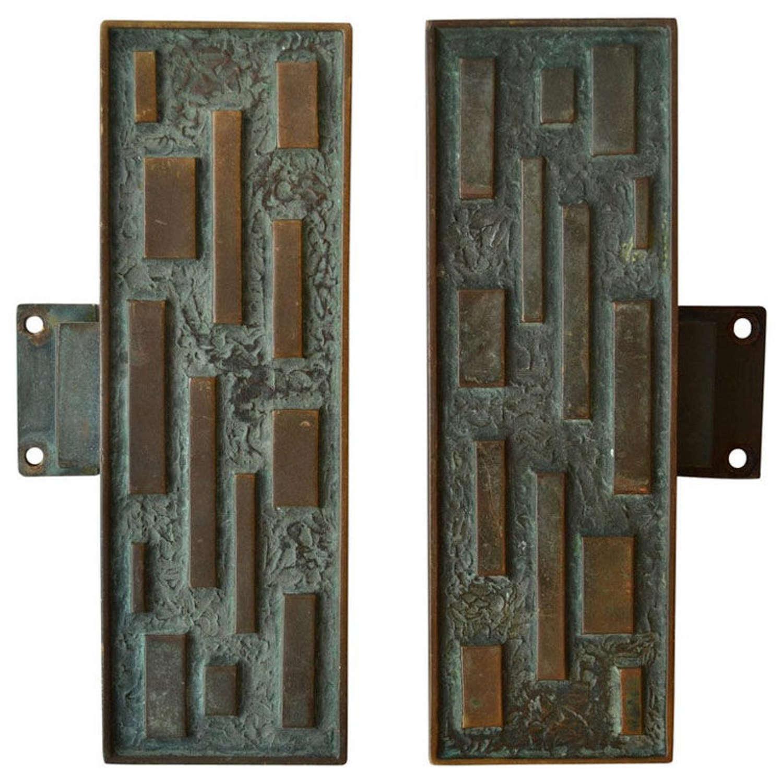 Pair of Elongated Bronze Push and Pull Door Handles