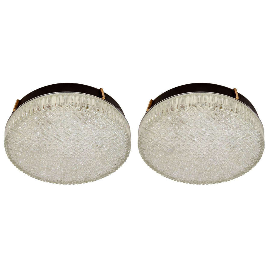 Pair of Large Flush Mount Glass Pendant or Wall Lights