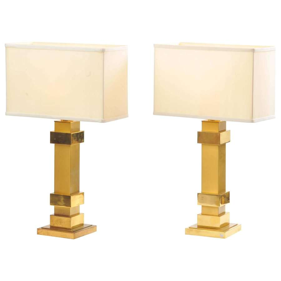 Pair of Brass Rectangular Table Lamps by Maison Charles