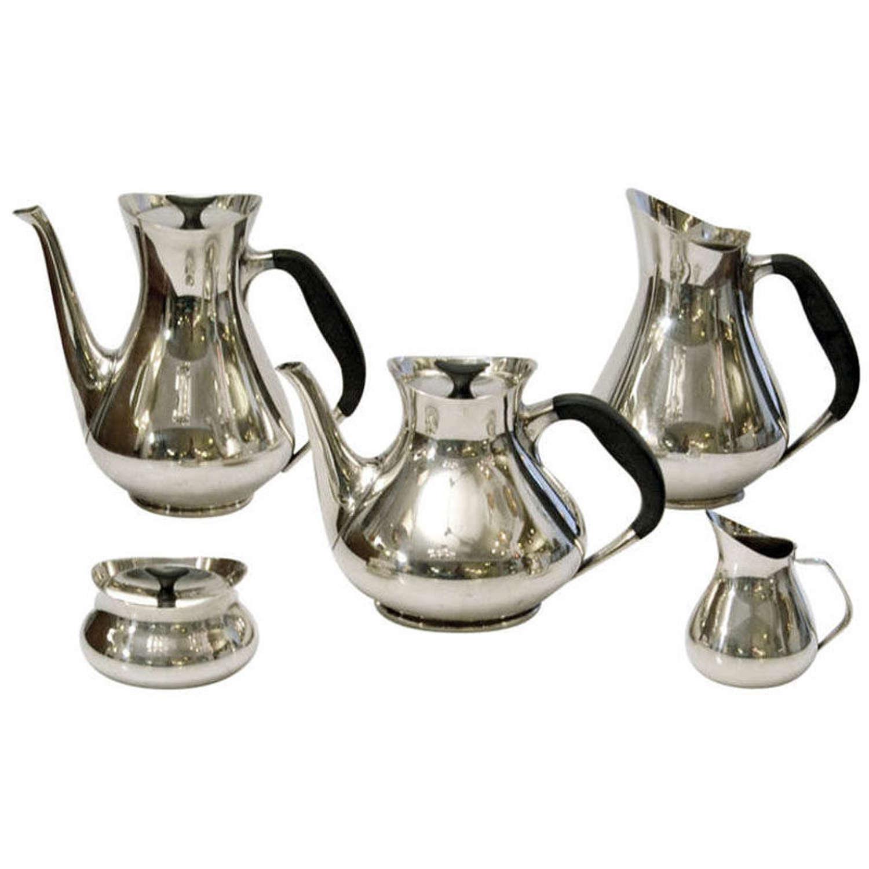 Danish Silver Plated Tea Coffee Set by Hans Bunde
