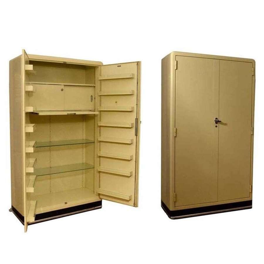 Industrial Cream Medicine Storage Cabinet, 1930's