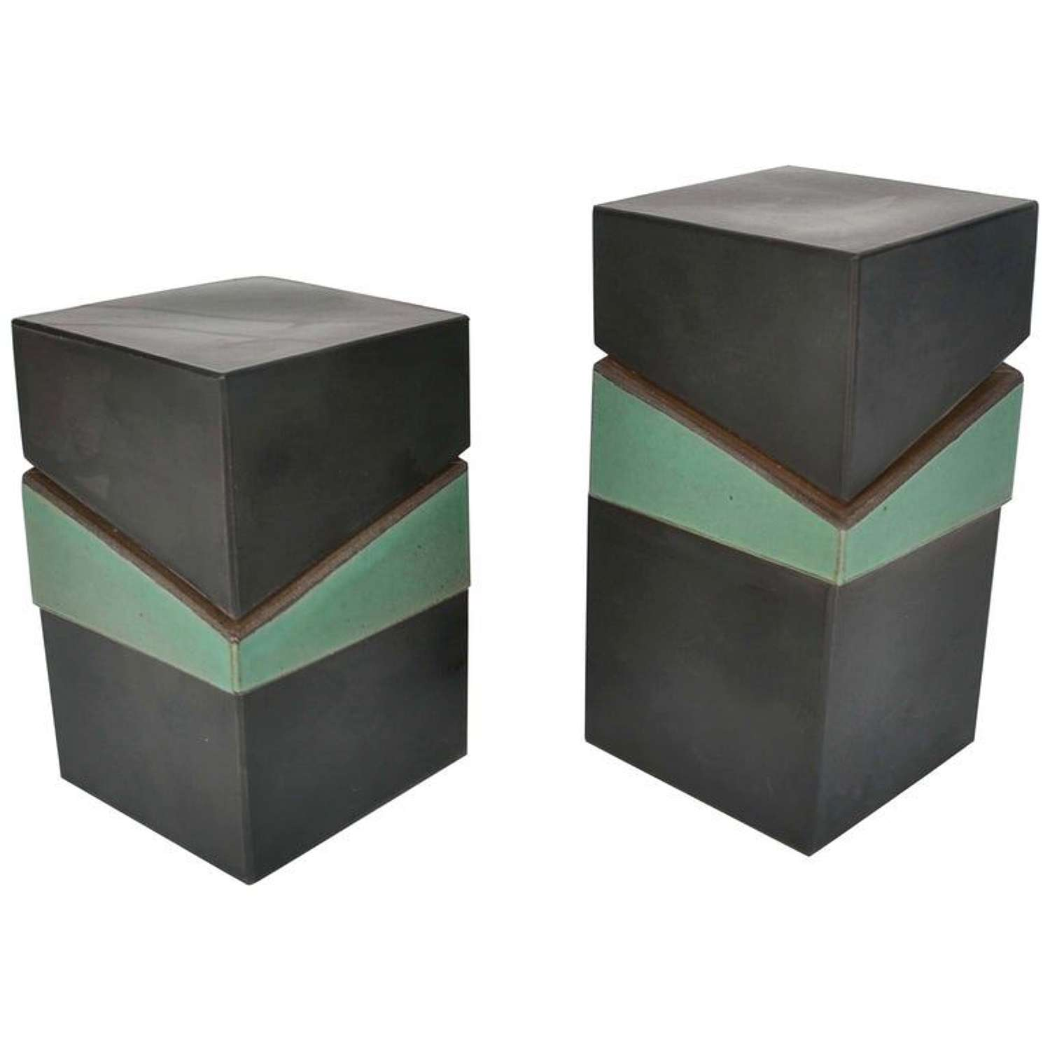 Pair of Square Studio Pottery Boxes in Green and Black