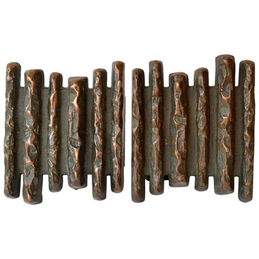 Bronze Push and Pull Door Handles with Relief motif
