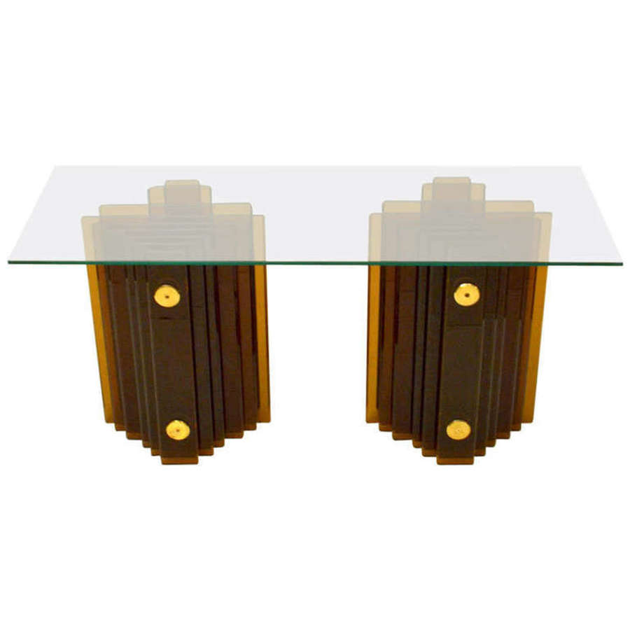 Amber Glass Console Table by Cristal Arte Italy 1970's