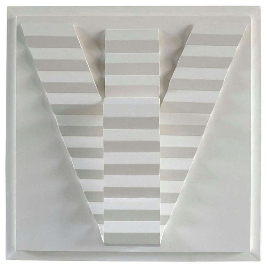 Minimal Art White Wood Relief by Sigmun, Dutch 1980's