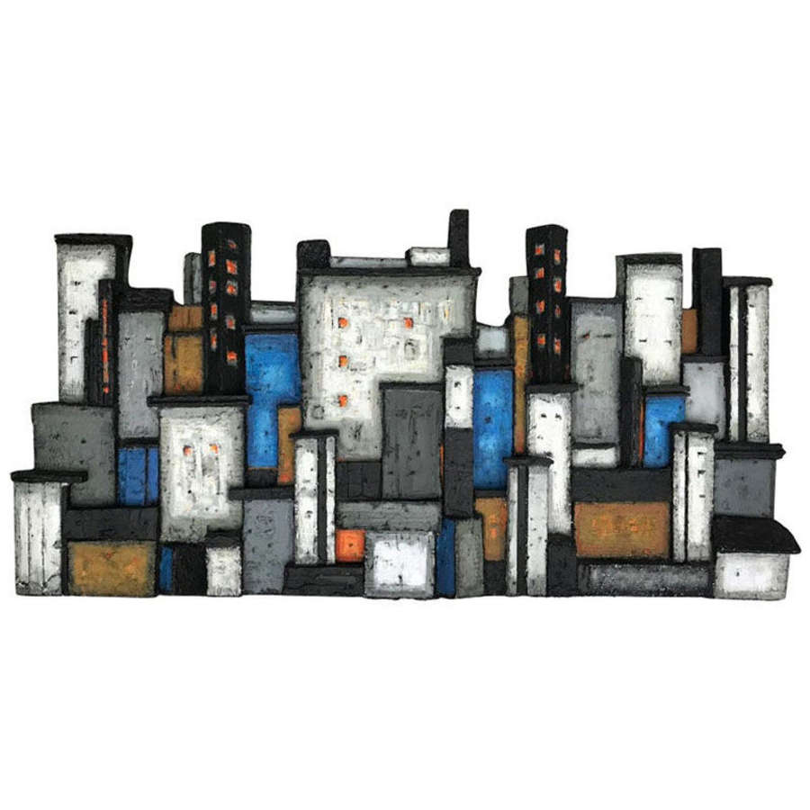 Cityscape Wall Mounted Wood Relief by Dorrit Kahler