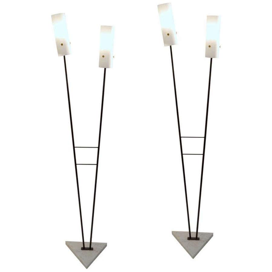 Pair of Black and White Floor Stilnovo Lamps, Italy