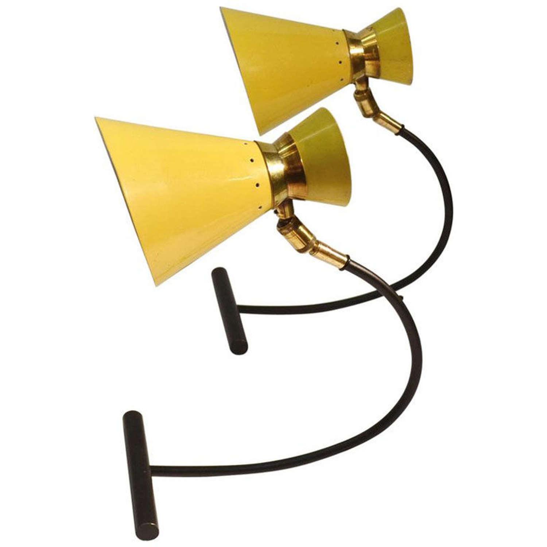 Pair Table Lamps, Yellow & Black, Jean B Lacroix France